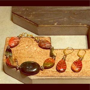 Stone leaf earring bracelet set handmade